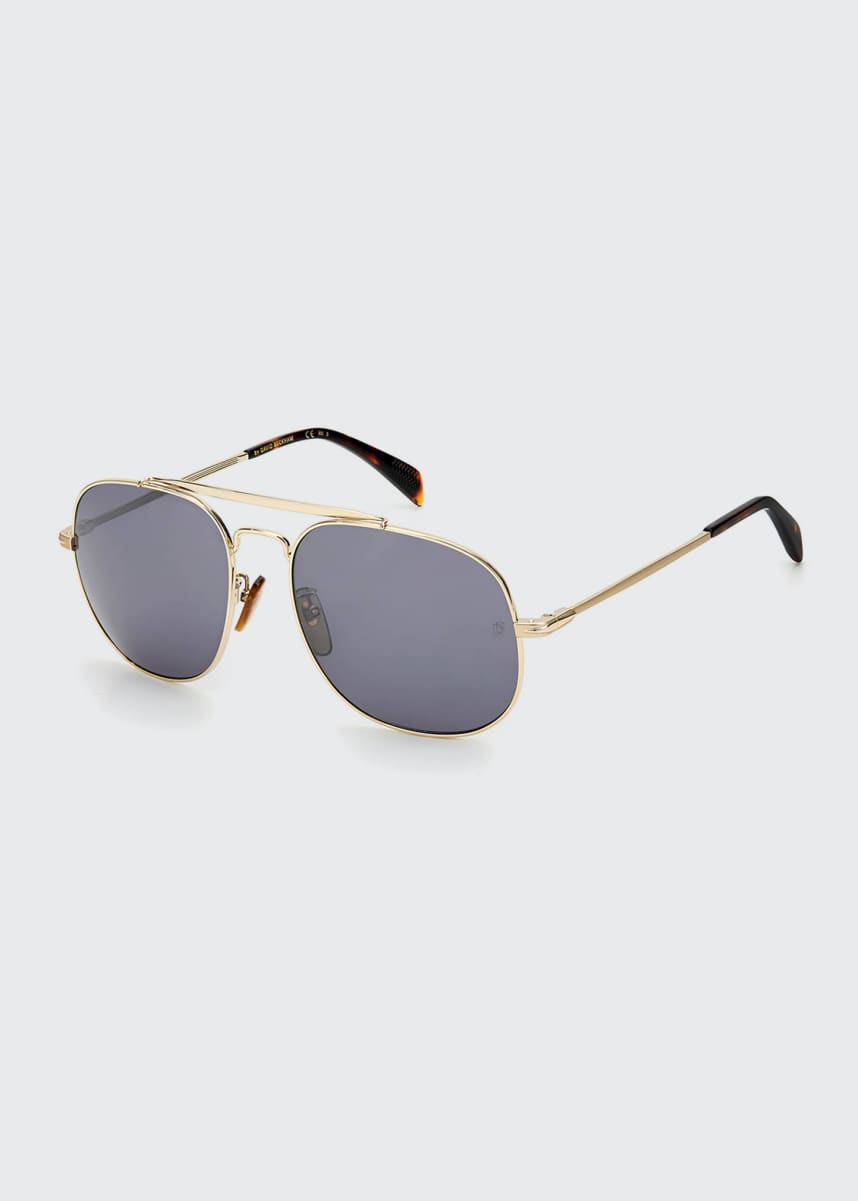 David Beckham Men's Square Metal Brow-Bar Sunglasses