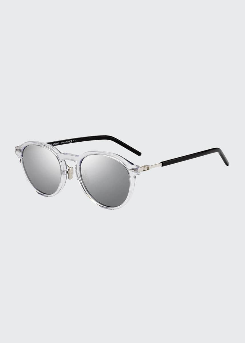 Dior Men's Technicity Round Acetate Keyhole Sunglasses