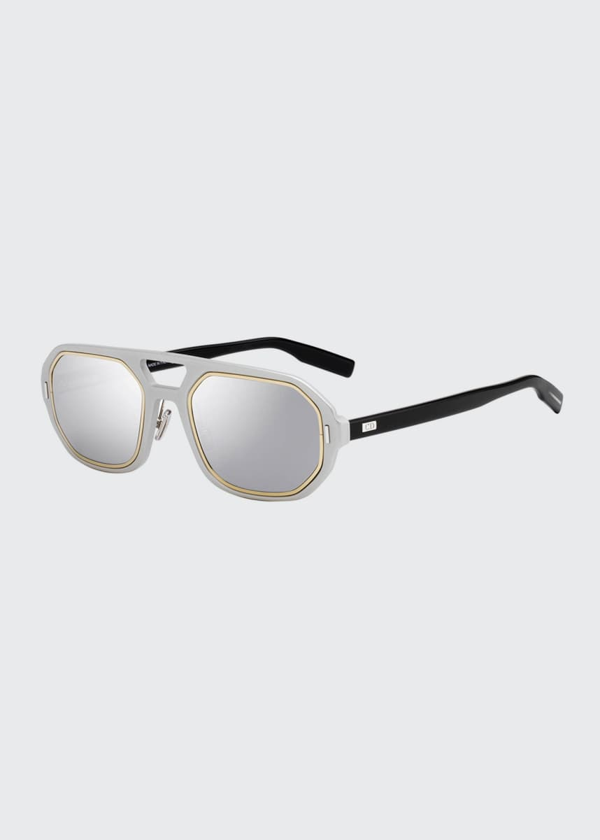 Dior Men's Octagonal Metal-Trim Sunglasses