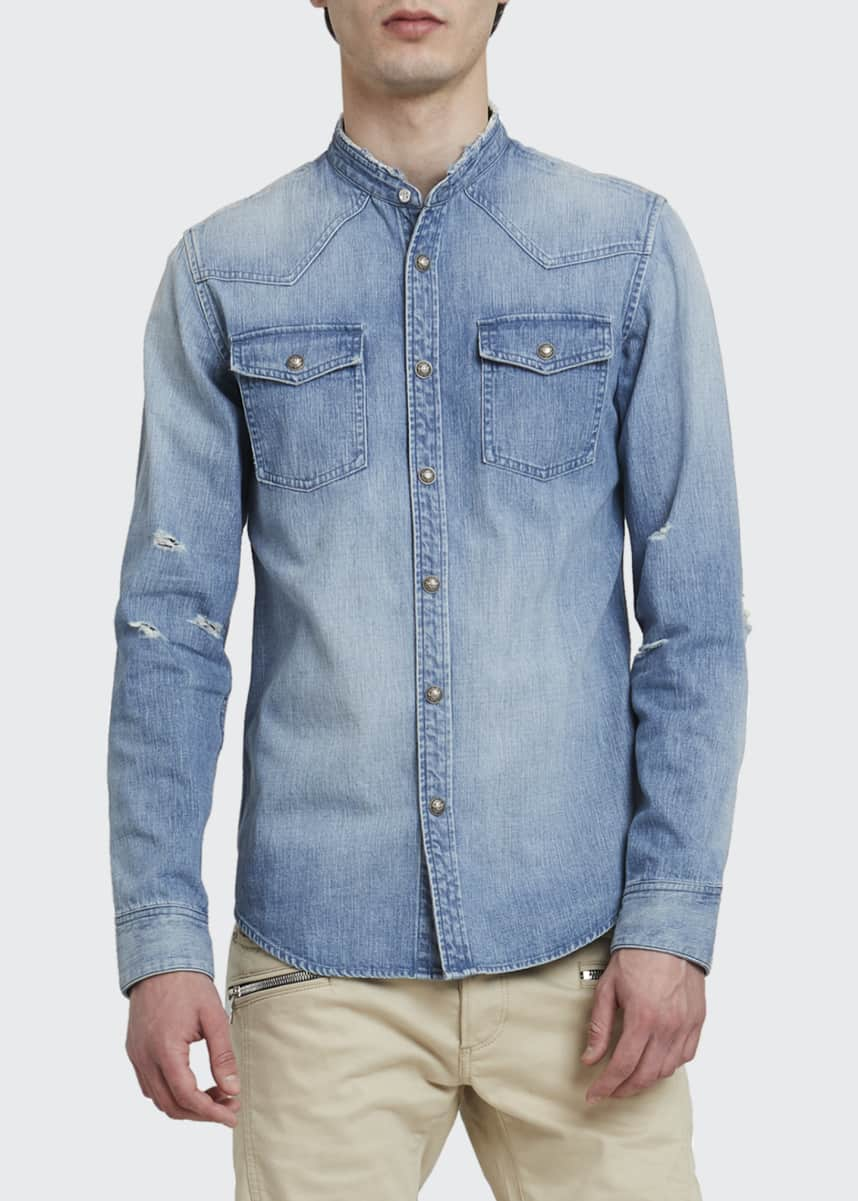 Balmain Men's Embossed Destroyed Denim Sport Shirt