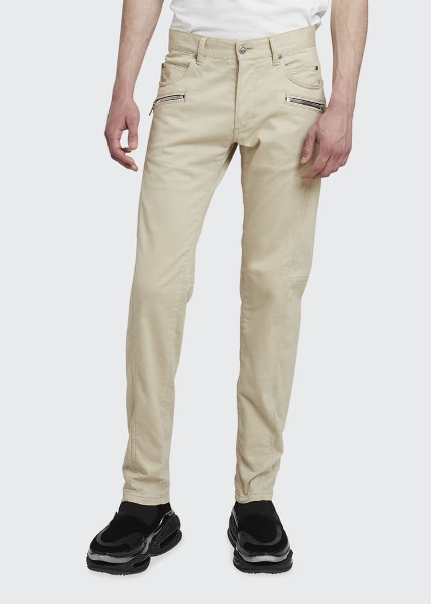 Balmain Men's Tapered Moleskin Zip-Pocket Pants