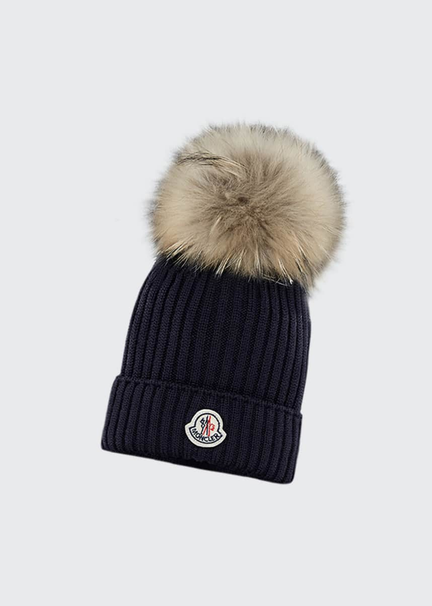 Moncler Kid's Virgin Wool Knit Beanie Hat w/ Fur Pompom