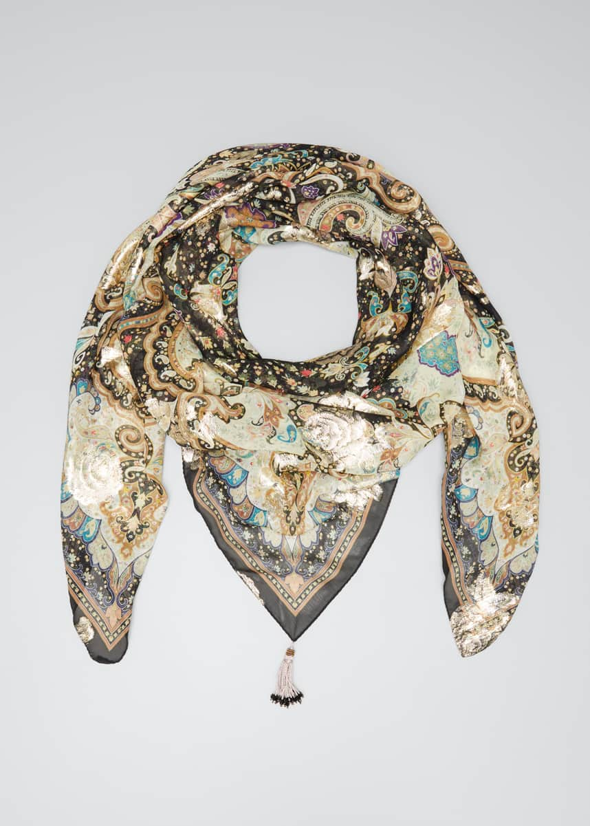 Etro Metallic Starry Night Scarf w/ Beaded Tassels