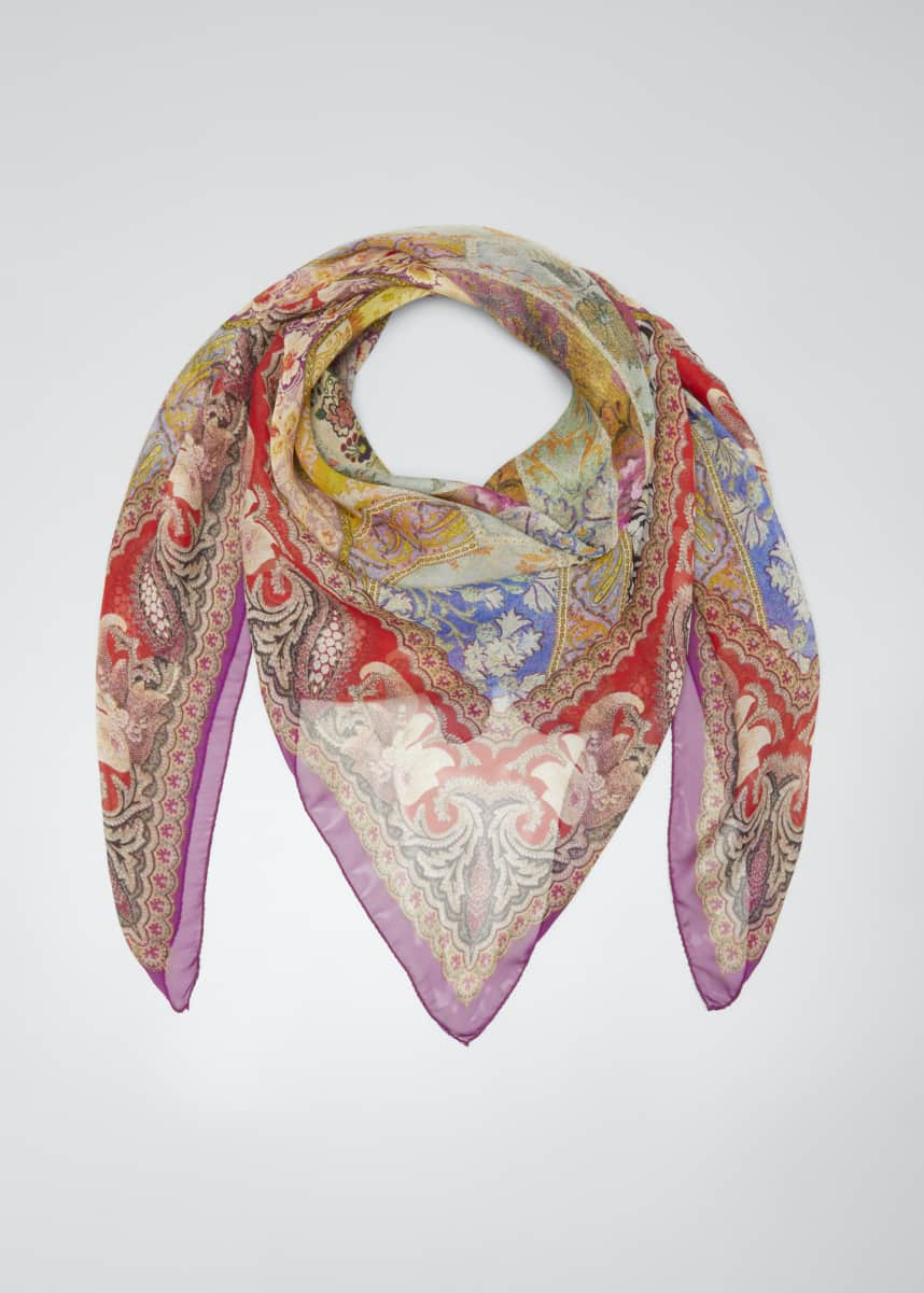 Etro Stained Glass Print Silk Scarf
