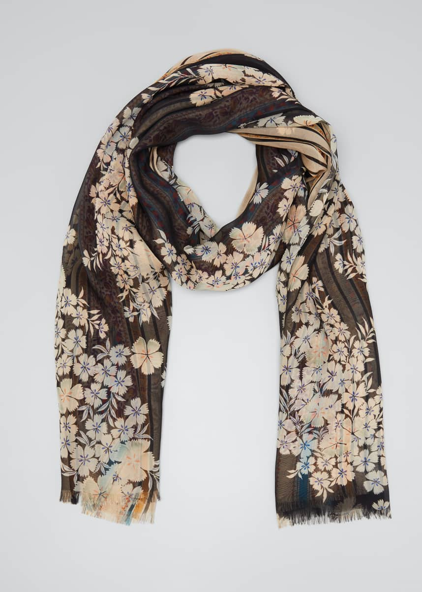 Etro Ribbon Floral Reversible Floating Floral Silk Scarf