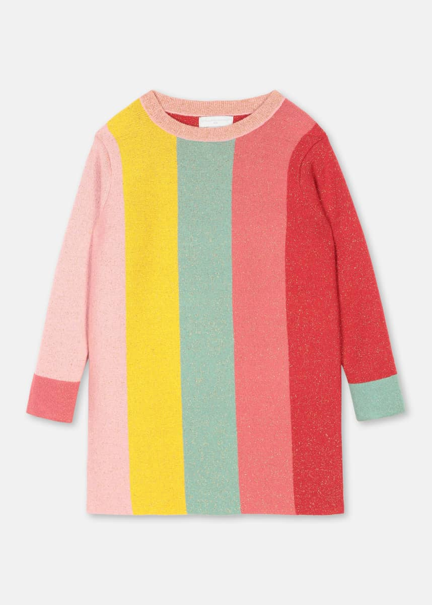 Stella McCartney Kids Long-Sleeve Glittery Striped Sweater Dress, Size 4-14