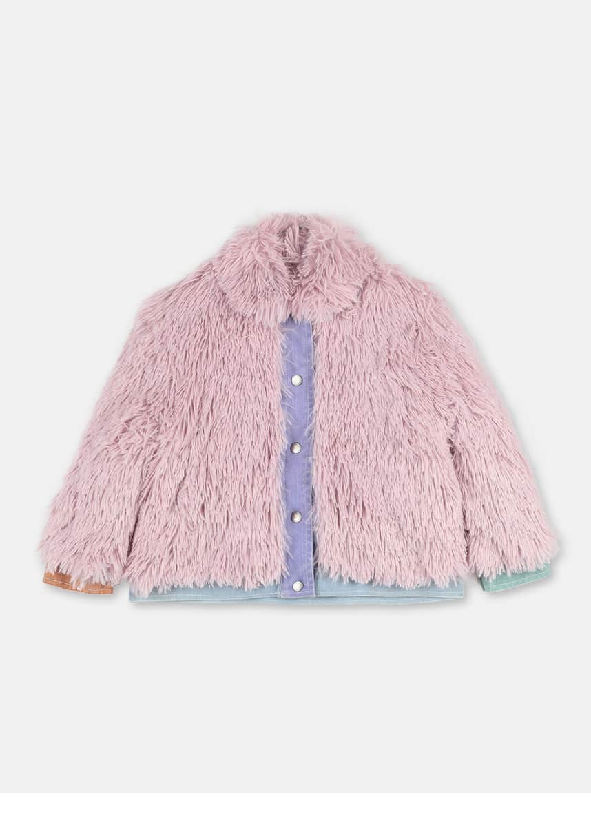Stella McCartney Kids Girl's Faux Fur Jacket w/ Denim Trim, Size 4-14