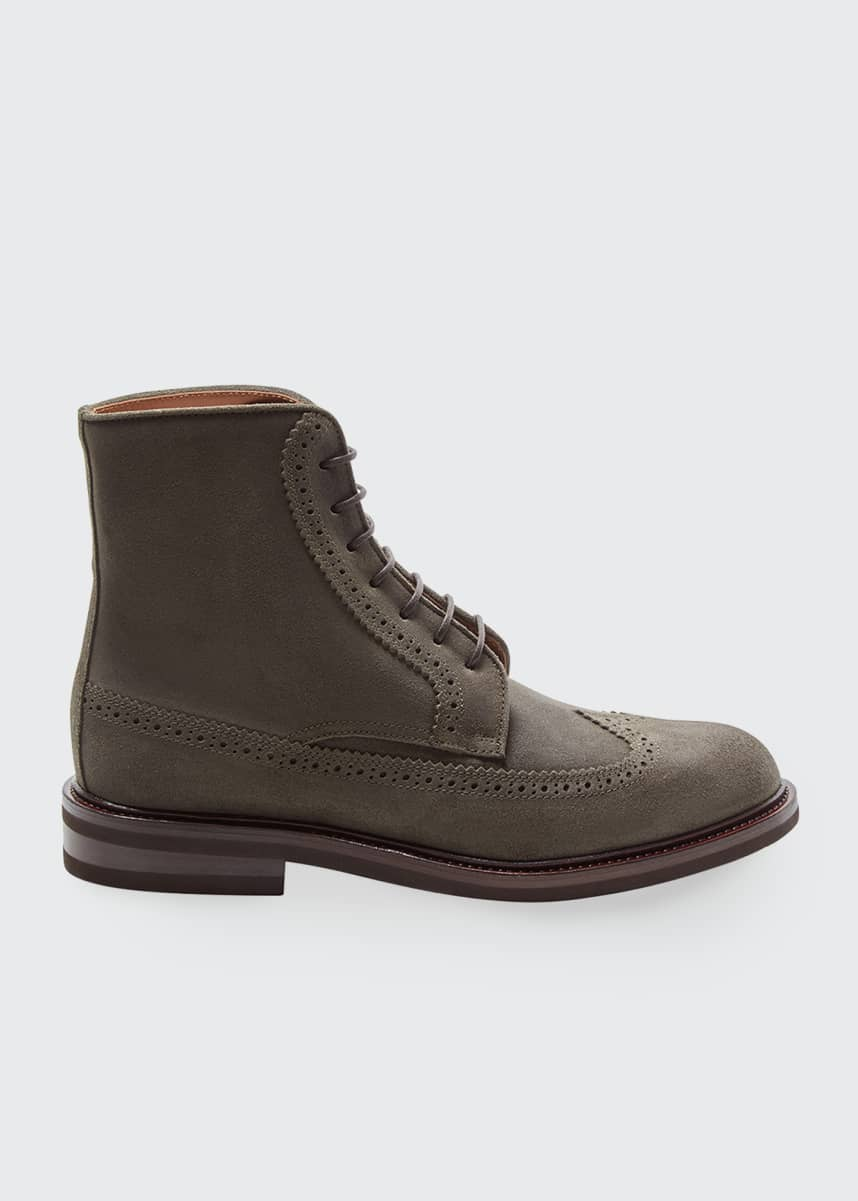 Brunello Cucinelli Men's Leather Wing-Tip Lace-Up Boots
