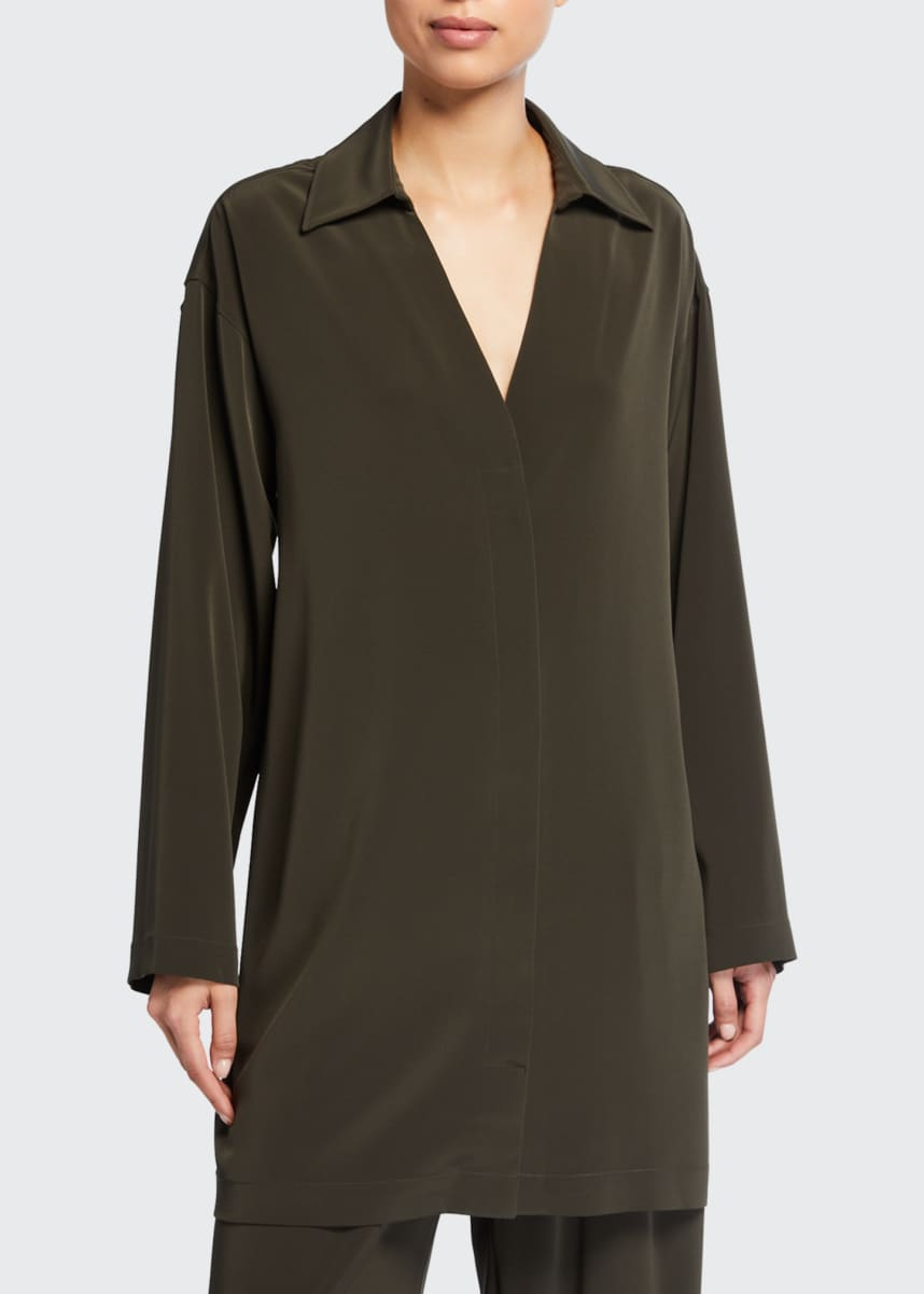 Co Long-Sleeve Button-Front Crepe Shirt