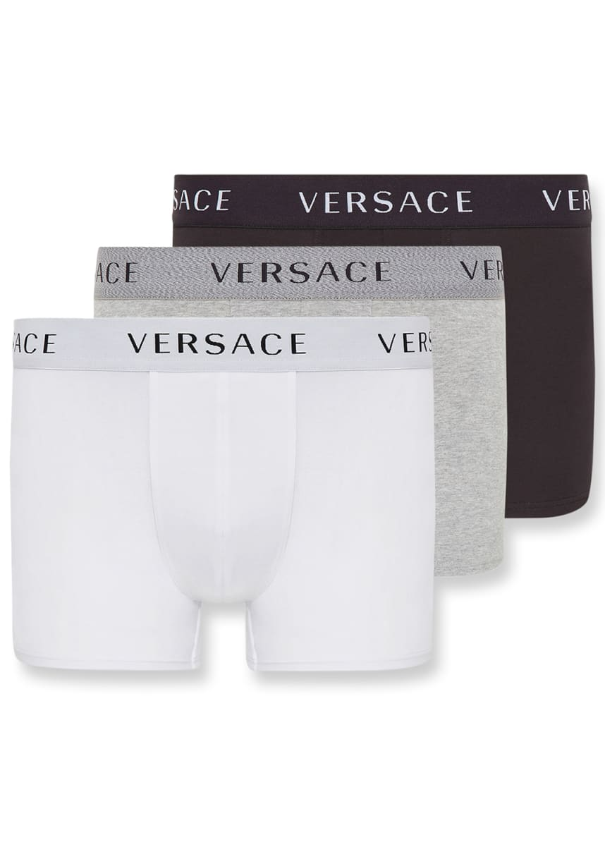 Versace Men's 3-Pack Solid Logo Boxer Briefs
