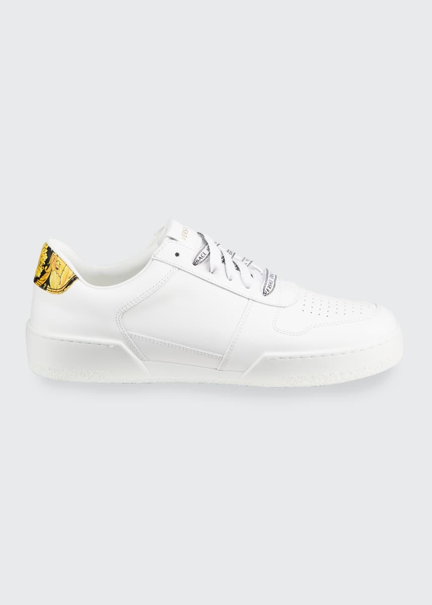 Versace Men's Leather Sports Sneaker w/ Baroque Detail