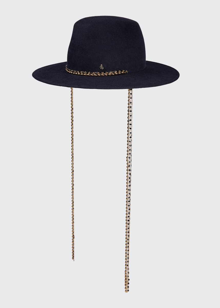 Maison Michel Kyra Fedora Hat w/ Pull-Through Chain Trim