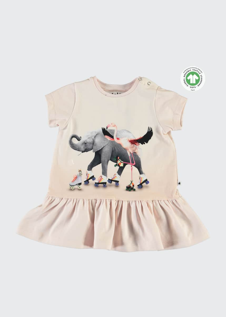 Molo Girl's Campa Roller Skating Animal Friends Dress, Size 6-24 Months