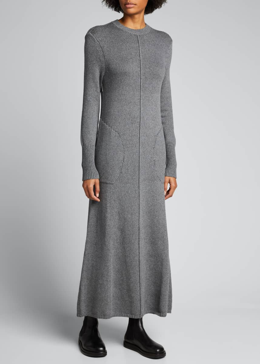 Peter Do Ribbed Knit A-Line Maxi Dress