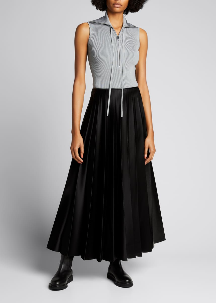 Peter Do Pleated Faux-Leather Maxi Skirt