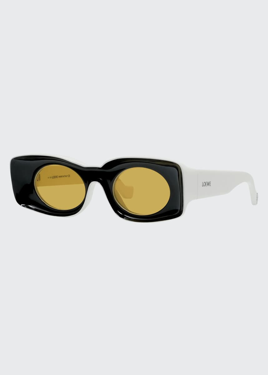 Loewe Two-Tone Acetate Inset Oval Sunglasses