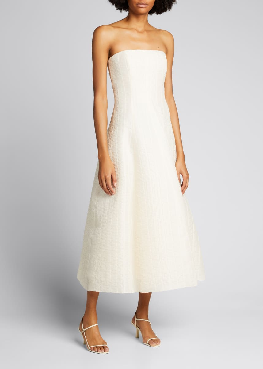 Ralph Lauren Collection Fern Strapless Organza Midi Dress