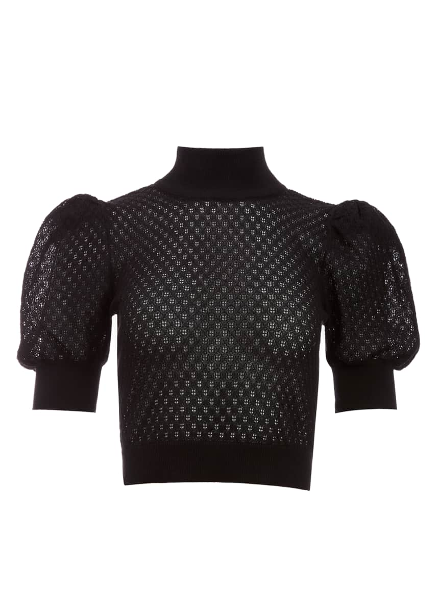 Alice + Olivia Shonda Fitted Puff-Sleeve Sweater