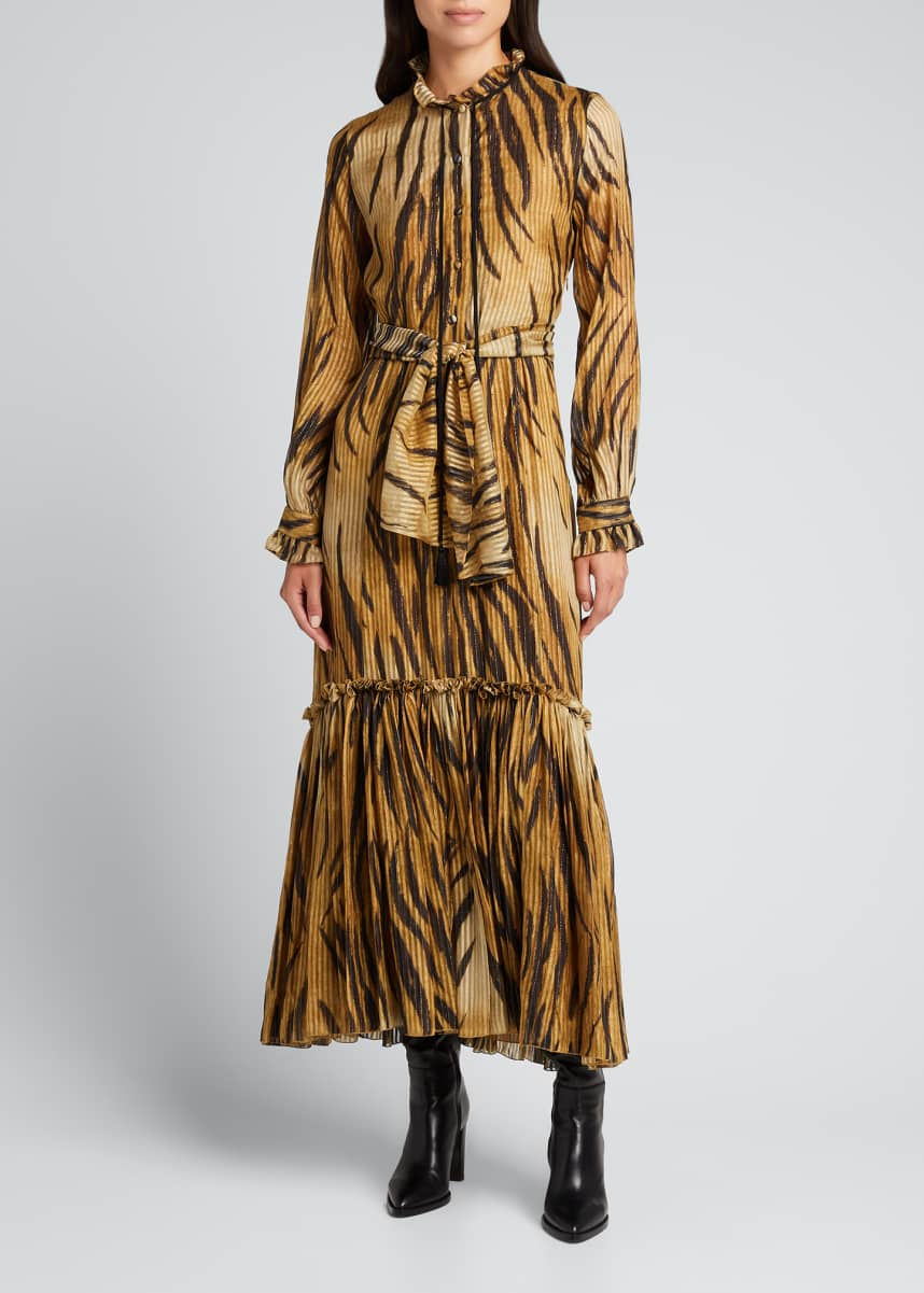 Etro Catria Tiger-Print Silk Maxi Dress w/ Belt