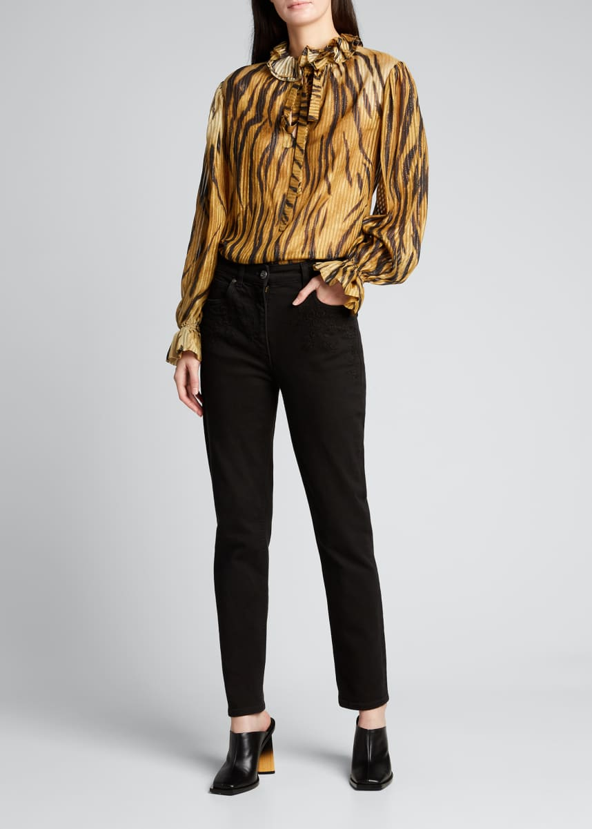Etro Tiger Bale Long-Sleeve Ruffle Top