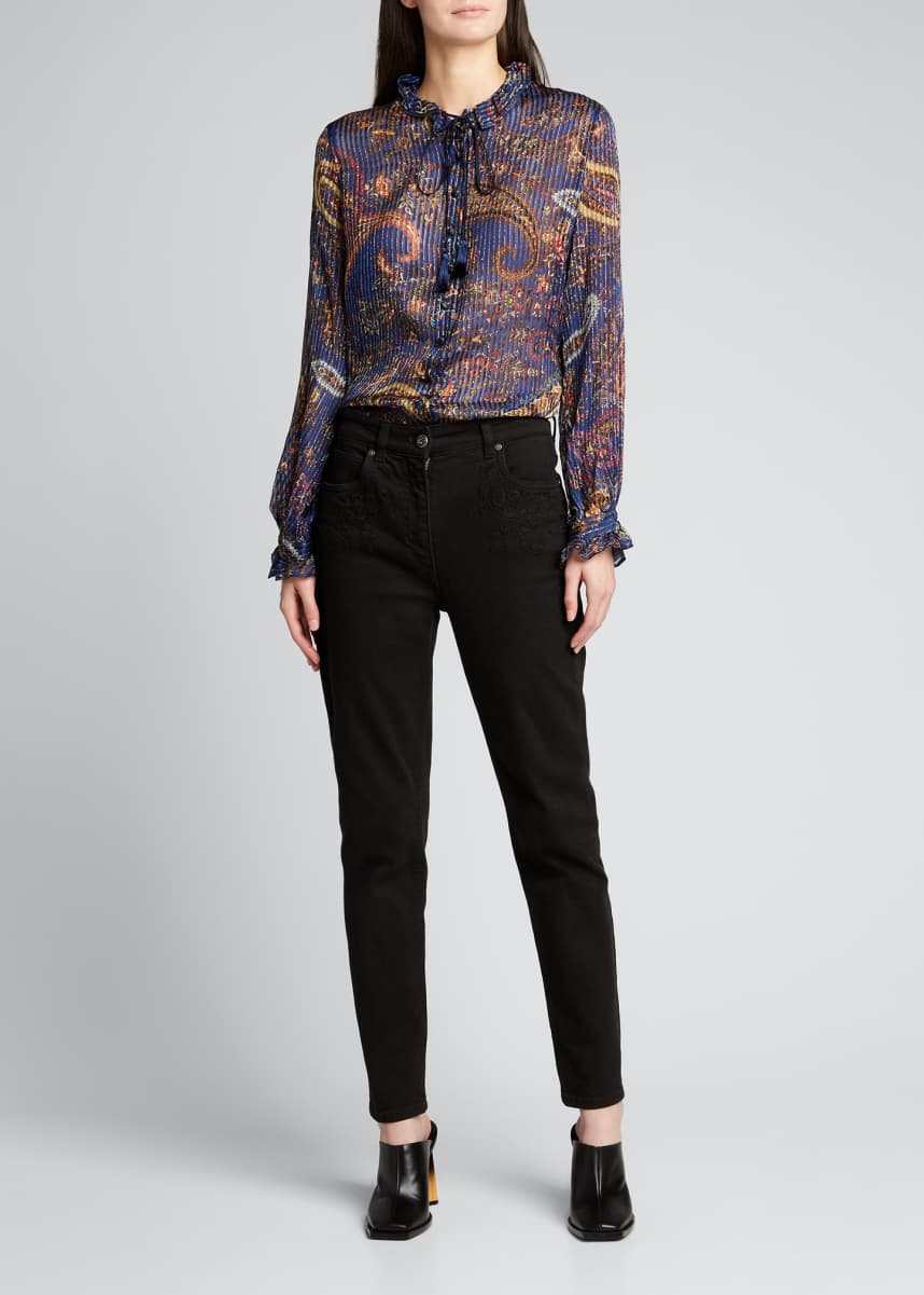 Etro Breton Metallic Paisley Long-Sleeve Silk Top