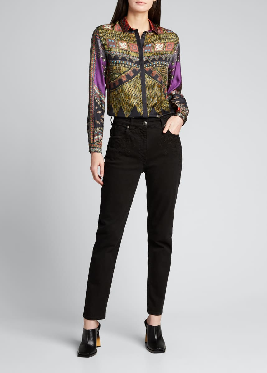Etro Printed Button-Down Silk Shirt