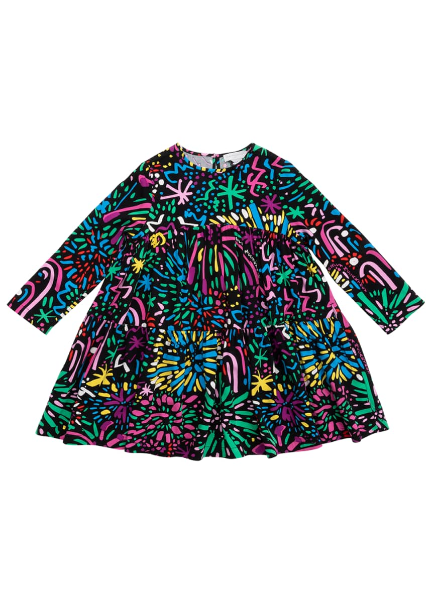 Stella McCartney Kids Girl's Long-Sleeve Fireworks Dress, Size 4-14