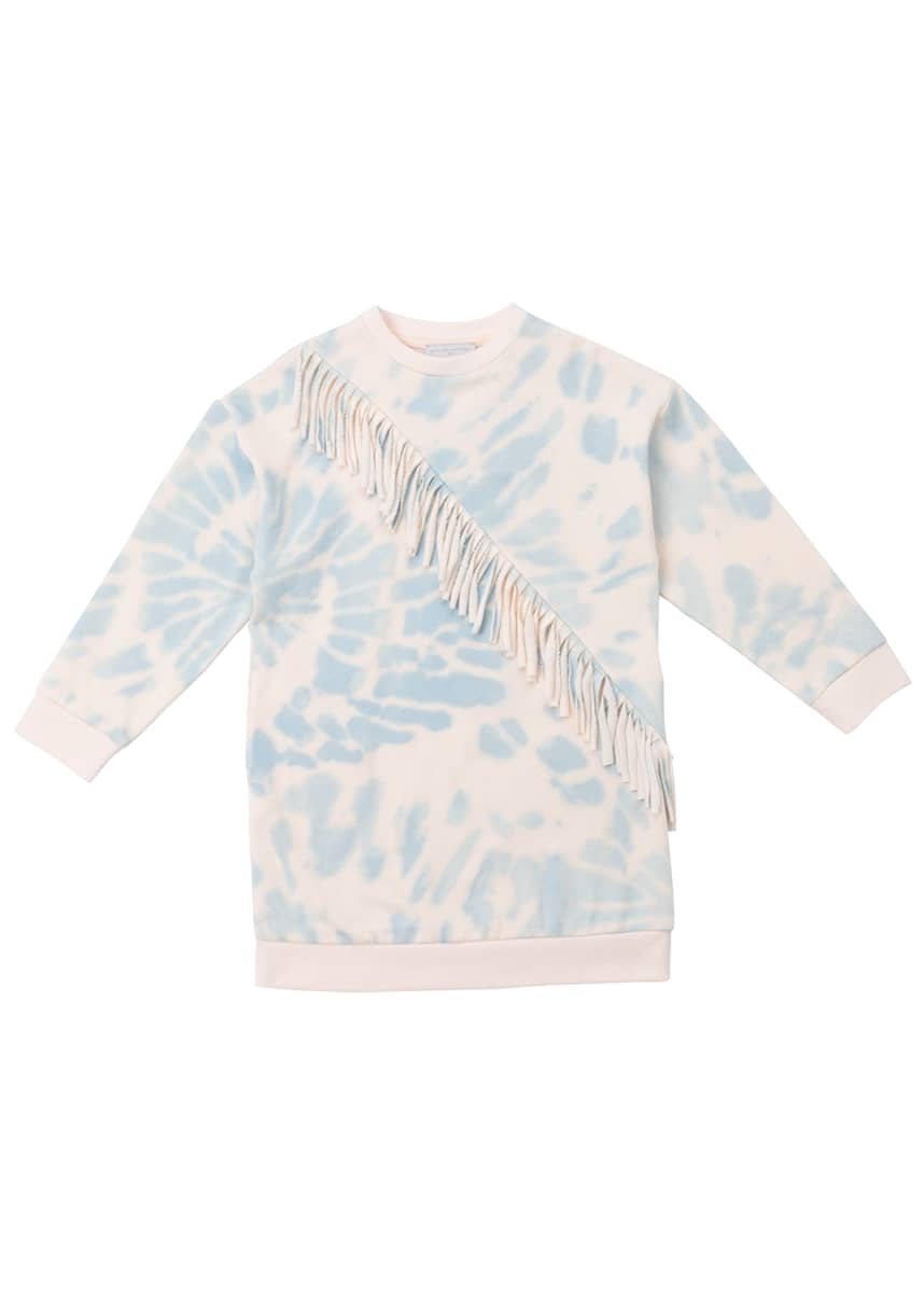Stella McCartney Kids Girl's Tie-Dye Fringe Sweatshirt Dress, Size 4-14
