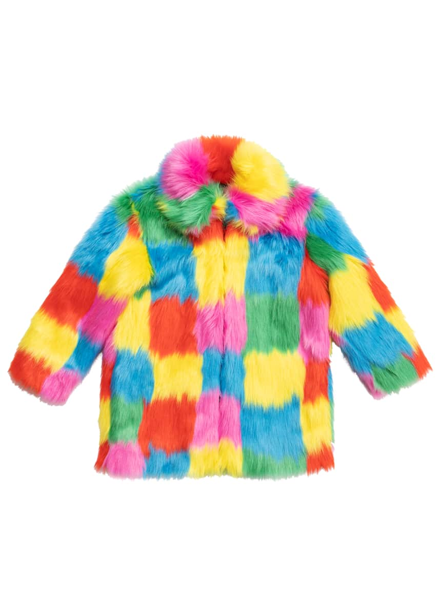 Stella McCartney Kids Girl's Multicolor Patchwork Faux Fur Coat, Size 4-14