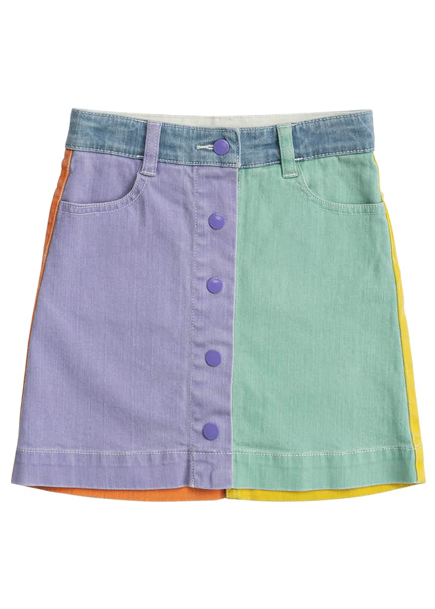 Stella McCartney Kids Girl's Colorblock Denim Skirt, Size 4-14