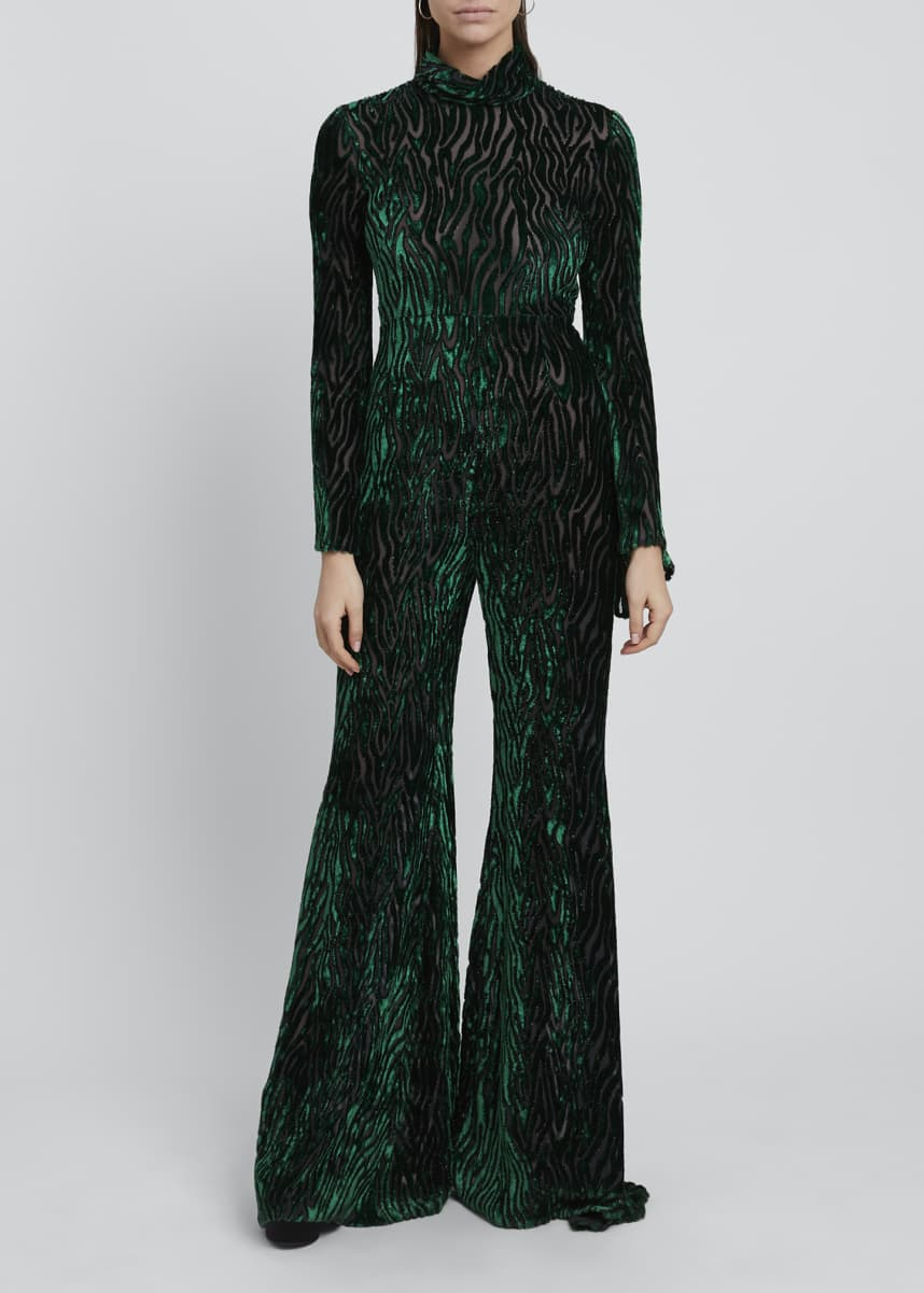 Halpern Velvet Devore High-Neck Flare-Leg Jumpsuit