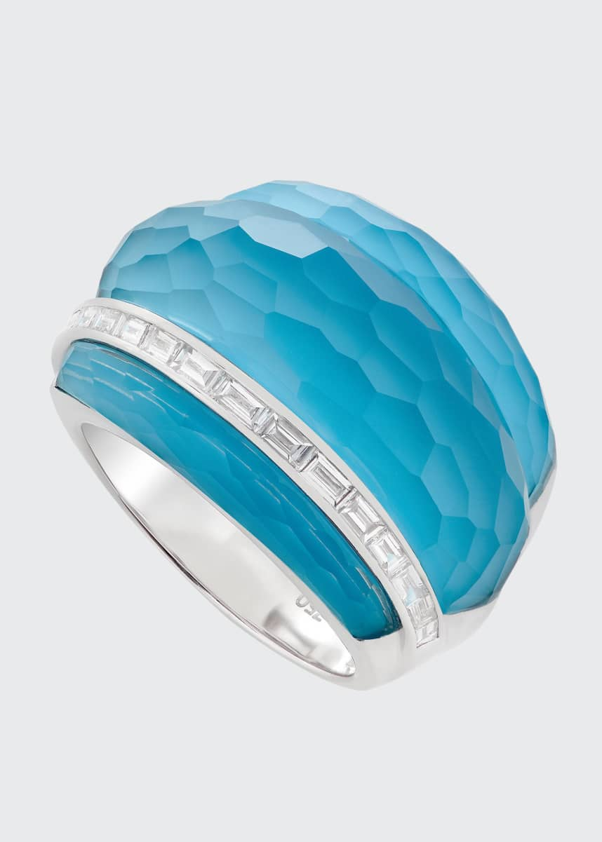 Stephen Webster CH2 Cocktail Ring in 18K White Gold with Dark Turquoise