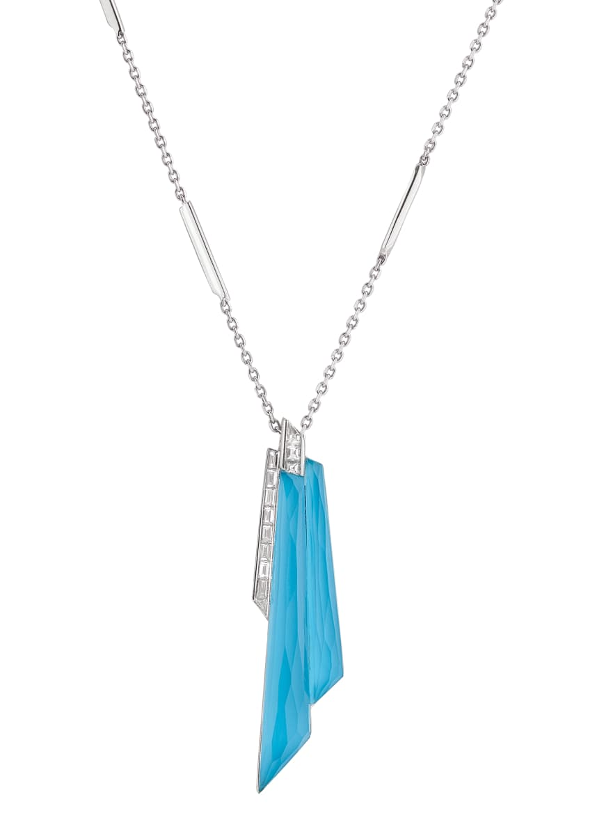 Stephen Webster CH2 Shard Pendant Necklace in 18K White Gold with Light Turquoise