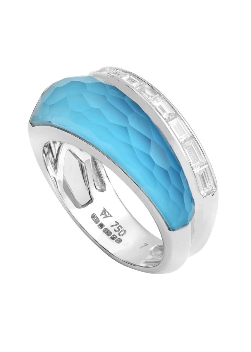 Stephen Webster CH2 Slimline Ring in 18K White Gold with Light Turquoise