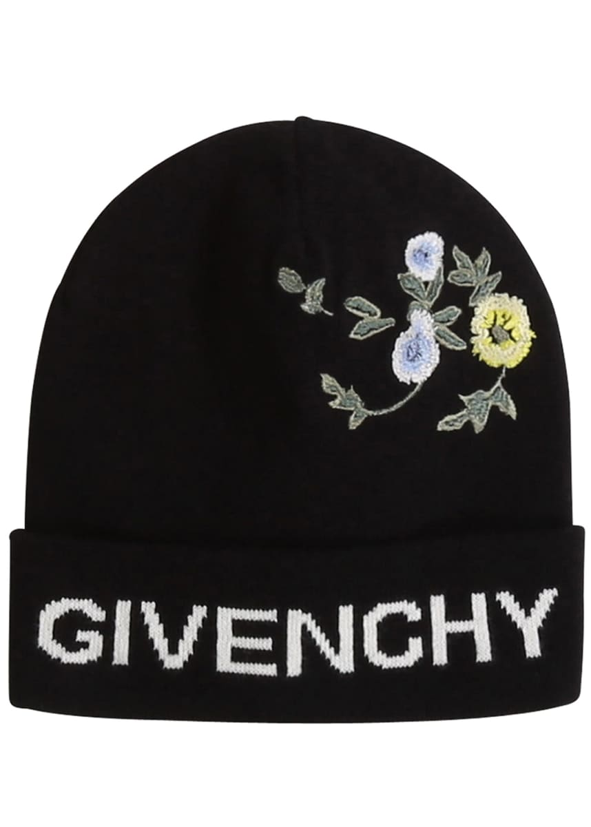 Givenchy Girl's Knitted Beanie Hat with Flower Embroidery