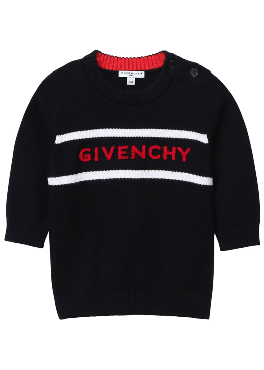 Givenchy Boy's Logo Embroidered Knitted Sweater, Size 12M-3