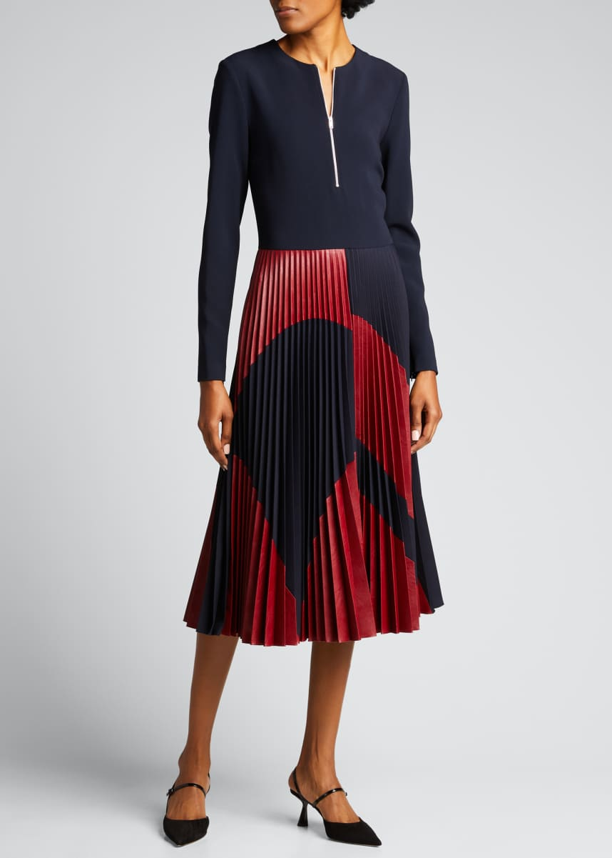 Stella McCartney Abstract Print Pleated Midi Dress