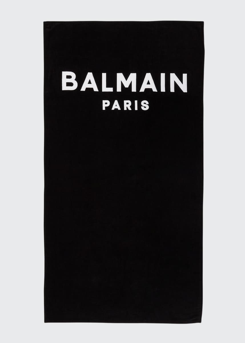 Balmain Men's Logo Embroidery Beach Towel