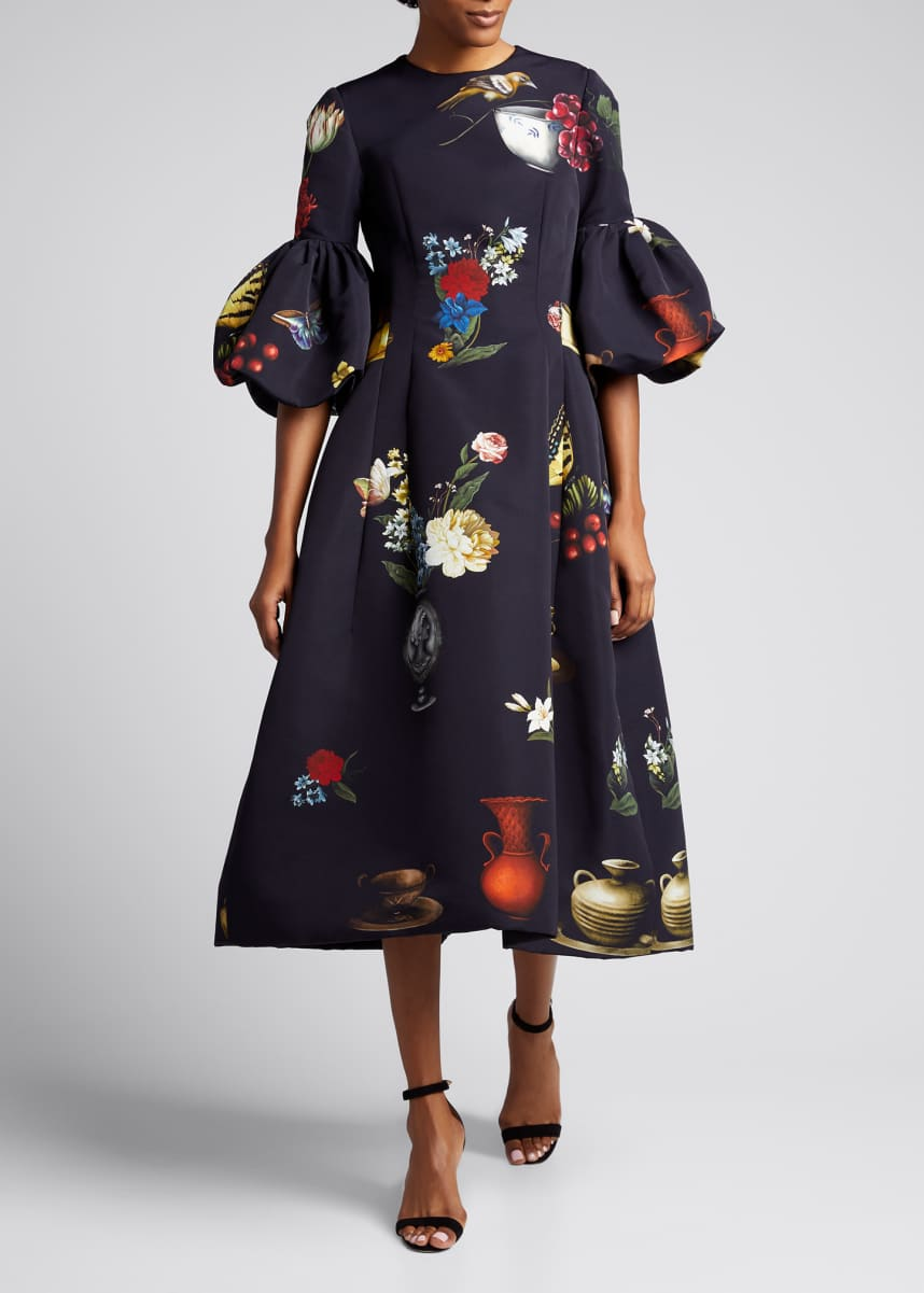 Oscar de la Renta Floral Print Balloon-Sleeve Midi Dress