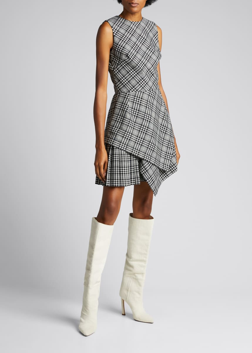 Oscar de la Renta Asymmetric Plaid Wool-Blend Dress