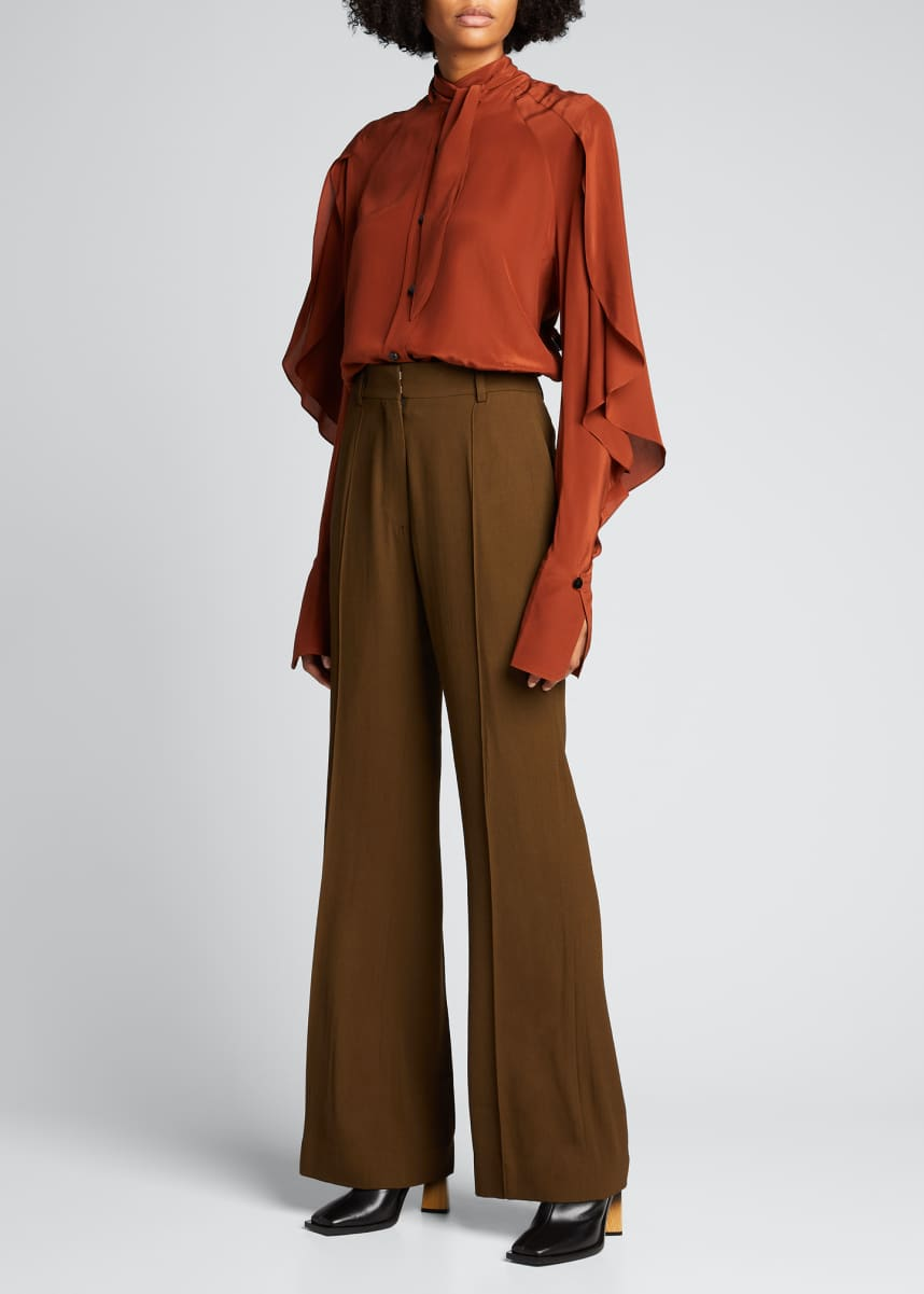 PETAR PETROV Layered Tie-Neck Silk Blouse