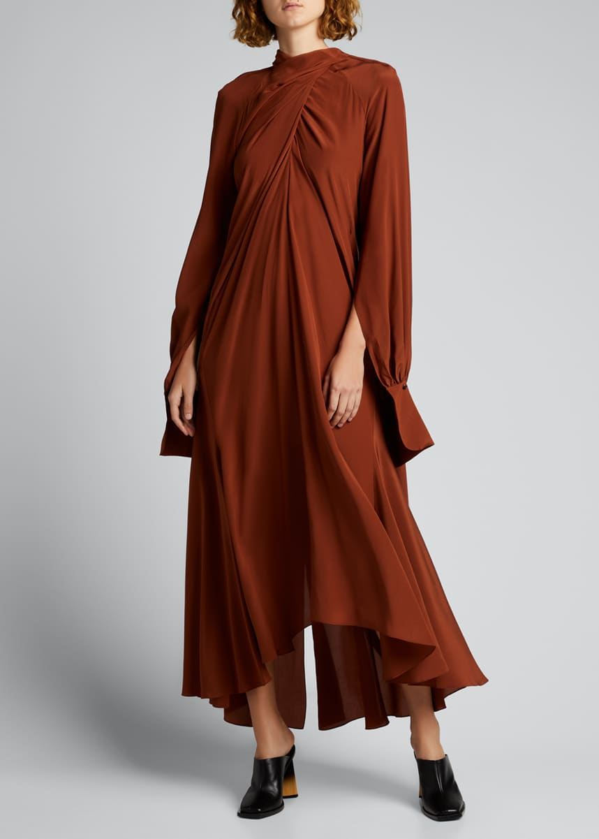 PETAR PETROV Draped Silk High-Low Maxi Dress