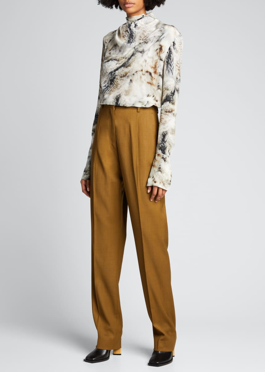 PETAR PETROV Printed Draped-Collar Silk Blouse