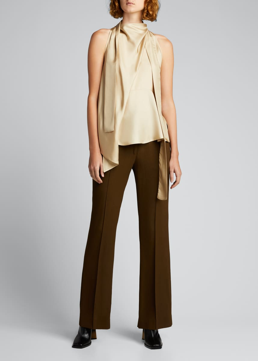 PETAR PETROV Draped Sleeveless Tie-Neck Silk Top