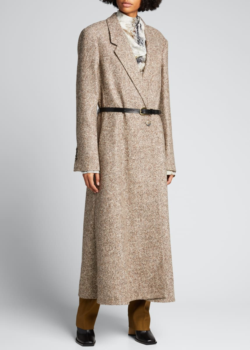PETAR PETROV Wool-Blend Tweed Long Belted Coat