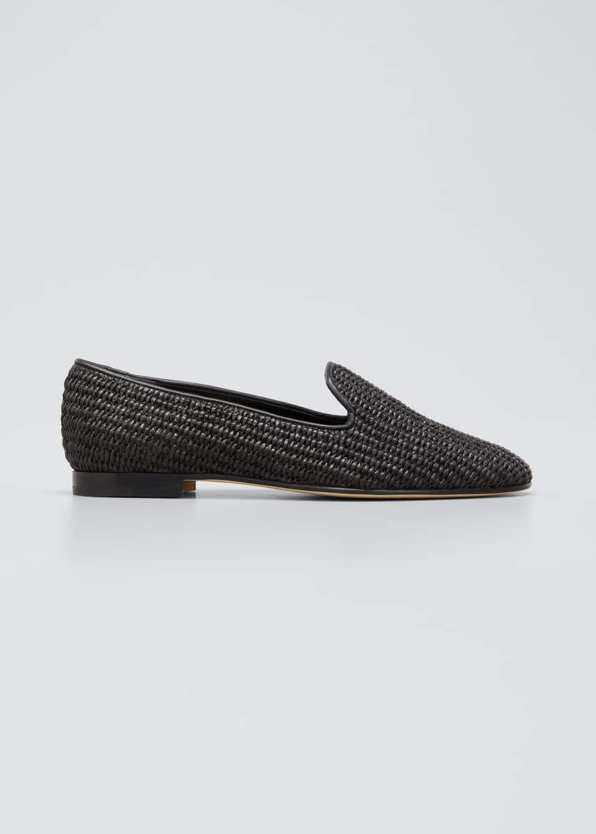 Manolo Blahnik Dipla Woven Flat Loafers, Black