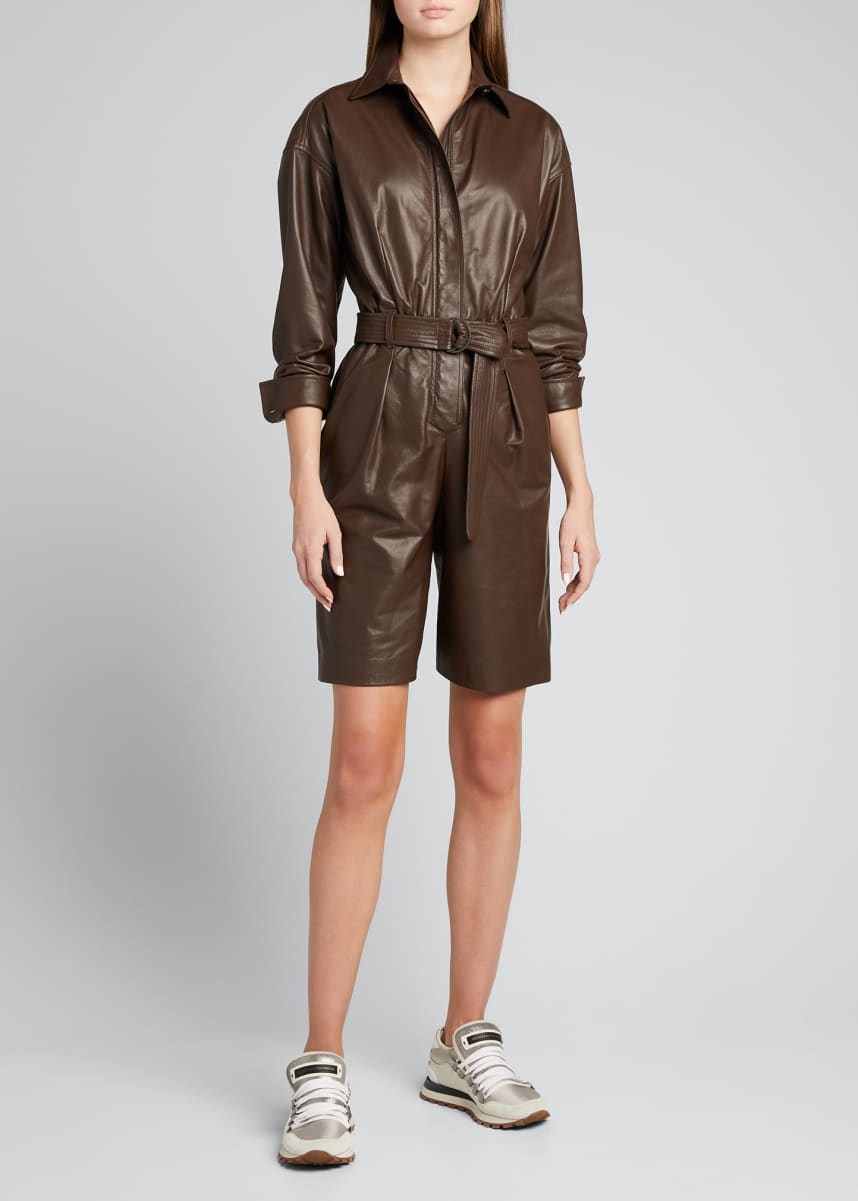 Brunello Cucinelli Leather Zip-Front Short Romper