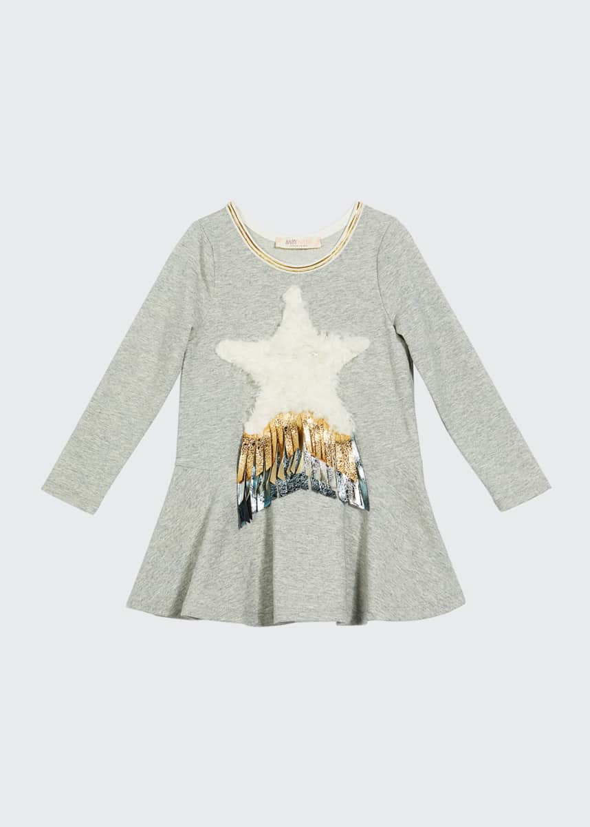 Hannah Banana Girl's Long-Sleeve French Terry Dress w/ Faux Fur Star, Size 4-6X