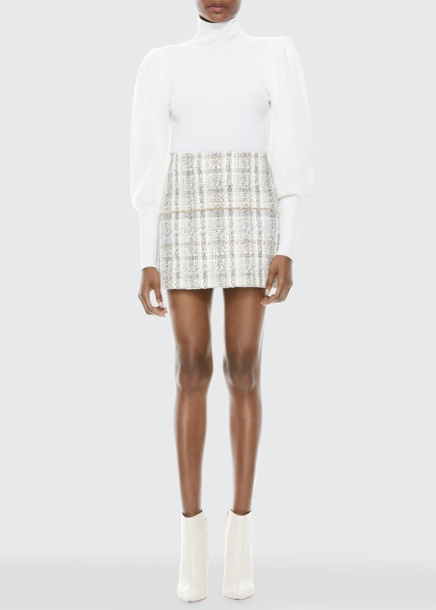 Alice + Olivia Riley Clean Waist Tweed Mini A-Line Skirt