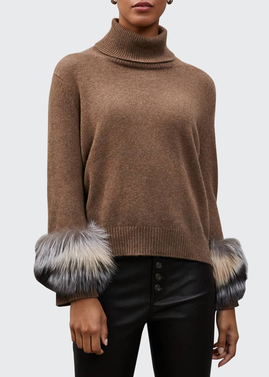 Lafayette 148 New York Cashmere Turtleneck Sweater with Fox Fur